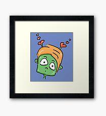 confused love alien cartoon Framed Print