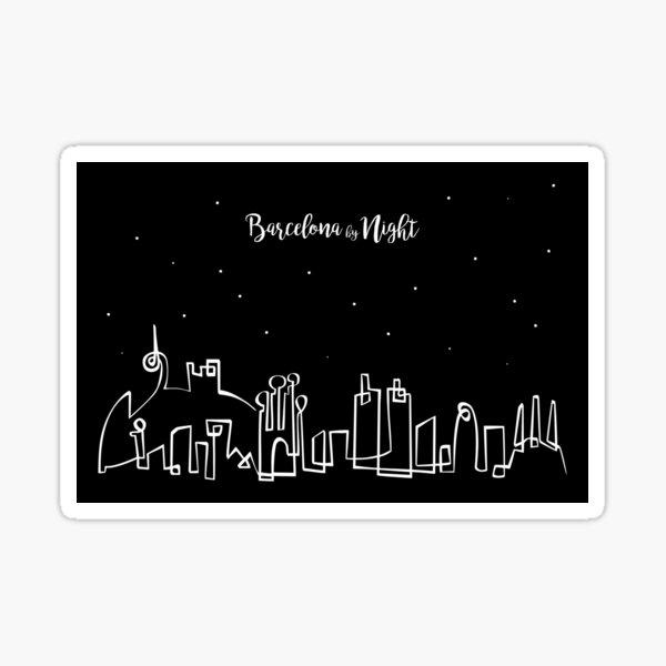 Barcelona Skyline at night Sticker