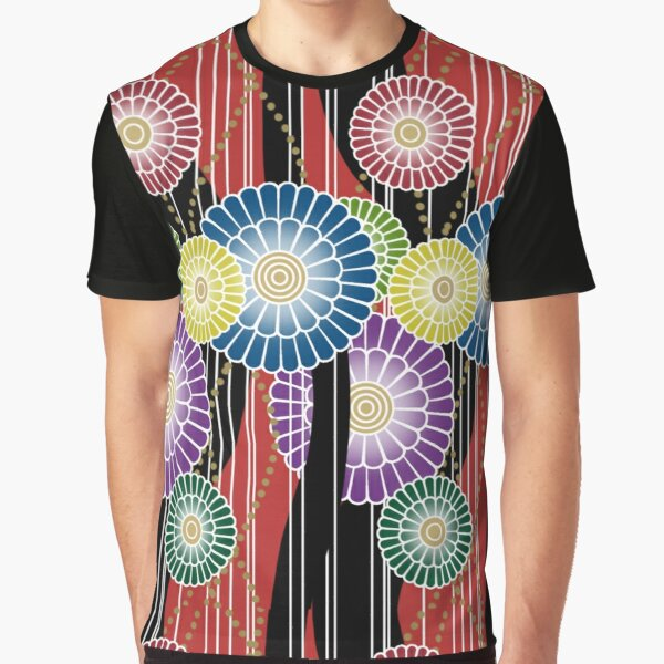 Japanese Mixed Colour Floral Pattern Graphic T-Shirt