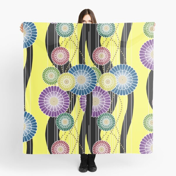 Japanese Mixed Colour Floral Pattern Scarf