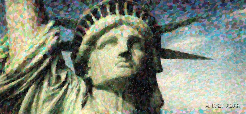 Statue of liberty face close up pointoism by MotionAge Media