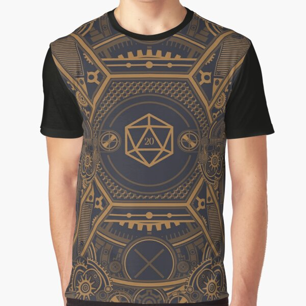 Steampunk Vintage Polyhedral 20 Sided Dice Nat20 Graphic T-Shirt