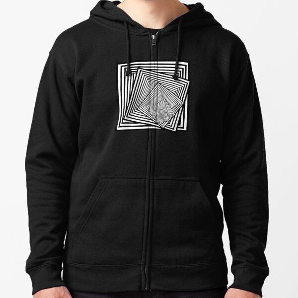 Twisting optical squares 3 Zipped Hoodie