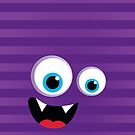 IPhone :: monster face laughing STRIPES - purple + violet by Kat Massard