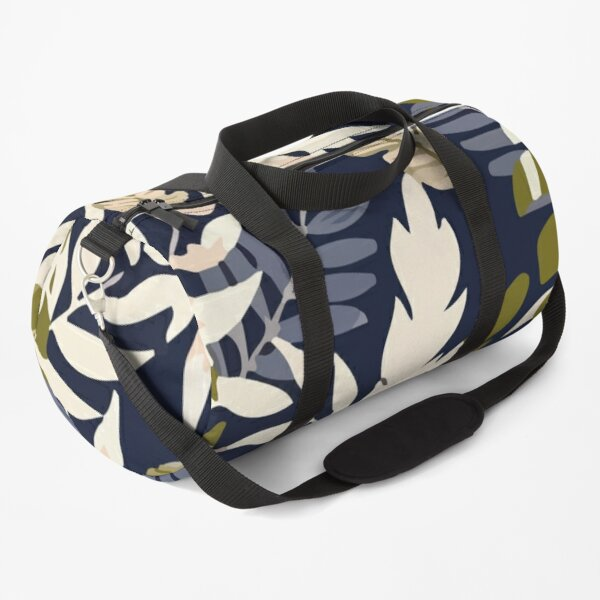 Colorful seamless pattern with tropical plants dark background Duffle Bag