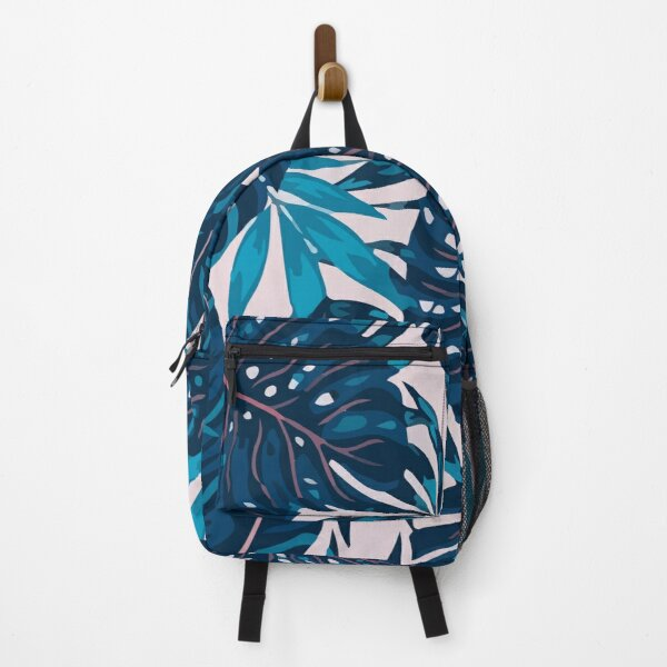 Seamless pattern with tropical plants leaves Backpack