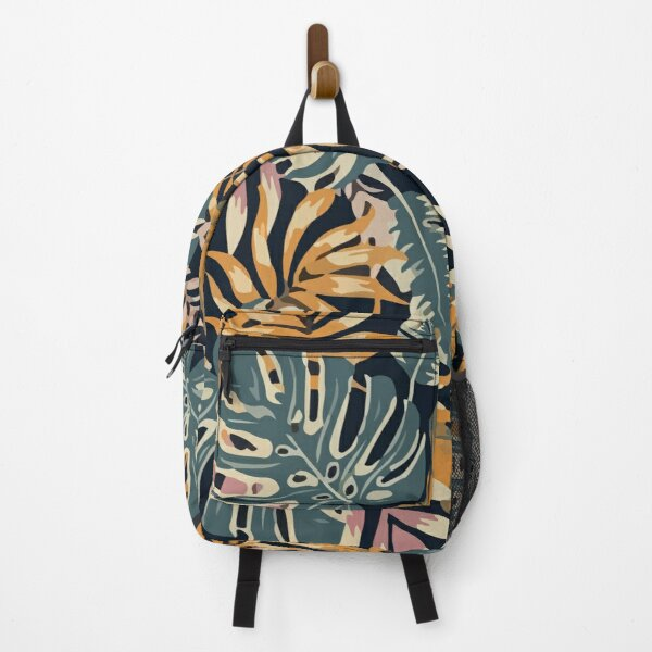 Seamless tropical pattern with leaves plants Backpack