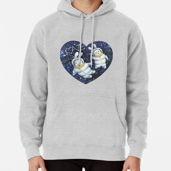 Bunnies astronaut couple lovers in the space with stars Pullover Hoodie