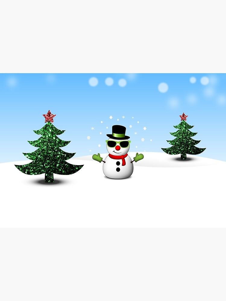 Cool Snowman and Sparkly Christmas Trees by PLdesign