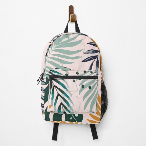 Summer trend abstract seamless pattern with tropical leaves Backpack