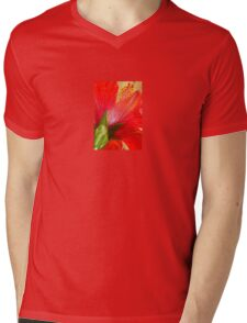 Back View of A Beautiful Bright Red Hibiscus Flower T-Shirt