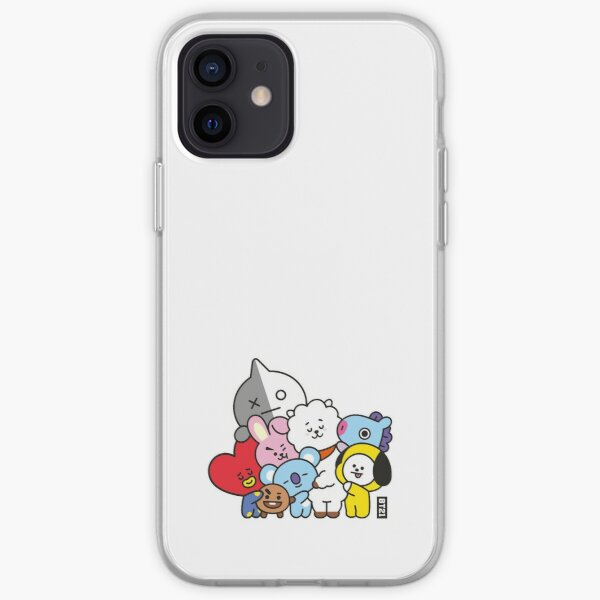 BT21 Free Hug Line Art In White By BTS (Ania Mardrosyan) Coque souple iPhone