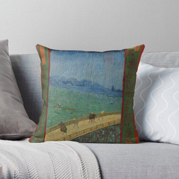 Vincent Van Gogh - The Bridge in the Rain (after Hiroshige) Throw Pillow