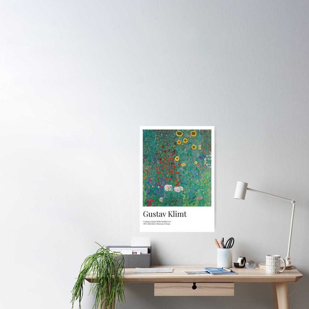 Gustav Klimt - Exhibition Art Poster - Cottage Garden With Sunflowers - Belvedere Museum Poster