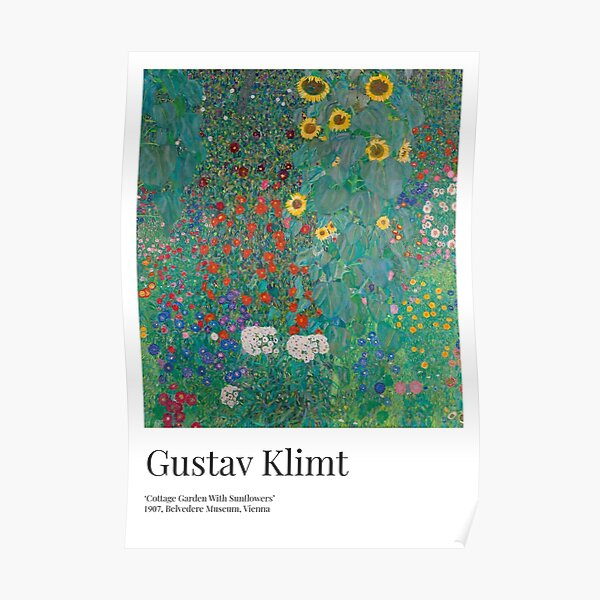 Gustav Klimt - Exhibition Art Poster - Cottage Garden With Sunflowers - Belvedere Museum Poster
