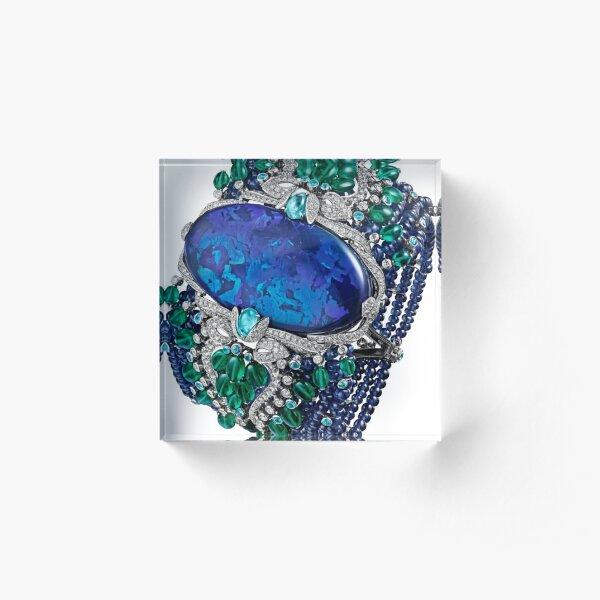 HIGH JEWELRY BRACELET ... Platinum, opal, sapphires, emeralds, Paraiba tourmalines Acrylic Block