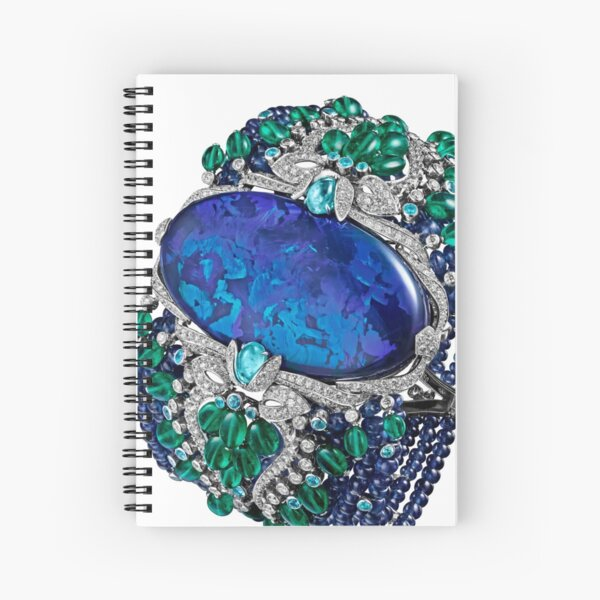 HIGH JEWELRY BRACELET ... Platinum, opal, sapphires, emeralds, Paraiba tourmalines Spiral Notebook
