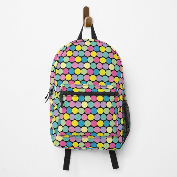 Colorful Pastel Circles Pattern on a Black Background Backpack