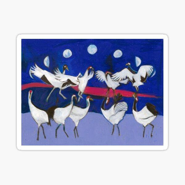 Nine Dancing Cranes Sticker