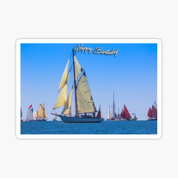 Photograph of a Classic Sailing boat birthday card Sticker
