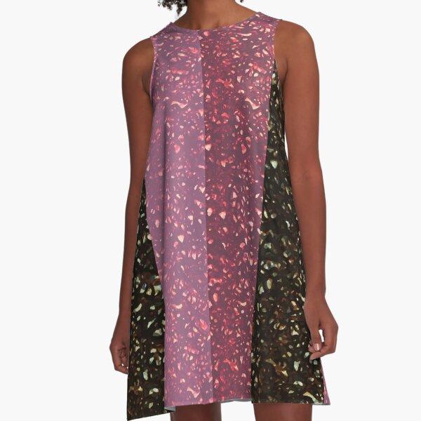 Sequin Sparkle Glam Stripe Print A-Line Dress