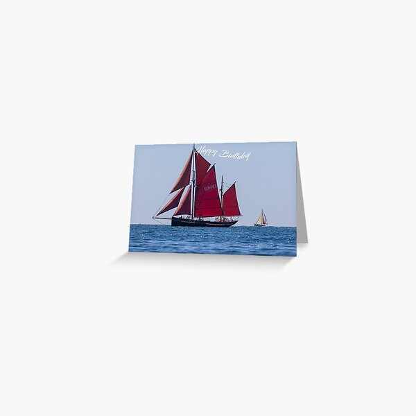 Photograph of a Classic sailing boat the Keewaydin  birthday card Greeting Card