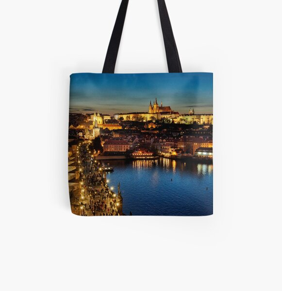Prague by night All Over Print Tote Bag
