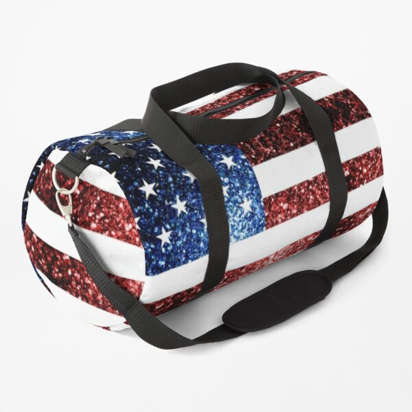 USA flag red blue sparkles glitters Duffle Bag