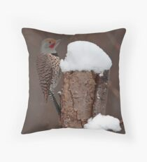 Flicker in the Snow Throw Pillow