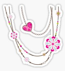 NECKLACE :: funky flowers chain bright colourful Sticker