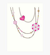NECKLACE :: funky flowers chain bright colourful Art Print