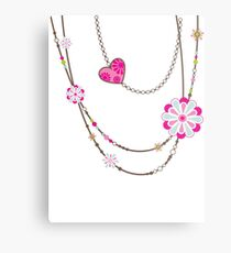 NECKLACE :: funky flowers chain bright colourful Metal Print