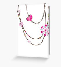 NECKLACE :: funky flowers chain bright colourful Greeting Card
