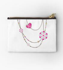 NECKLACE :: funky flowers chain bright colourful Studio Pouch