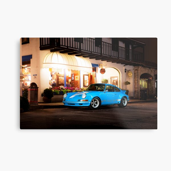 Blue Porsche Downtown Metal Print