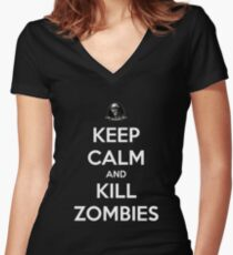 Keep Calm And Kill Zombies (Shirt & Stickers - Black) Women's Fitted V-Neck T-Shirt