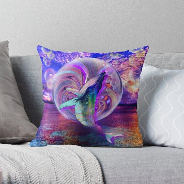 Rainbow whale Throw Pillow