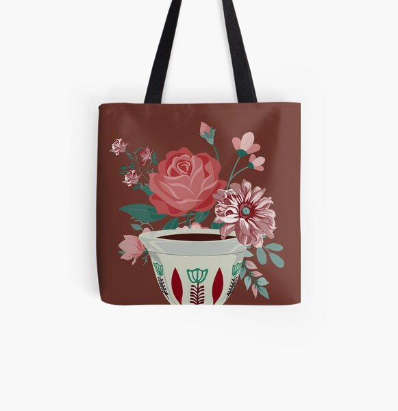 Lebanese Coffee Flowers All Over Print Tote Bag