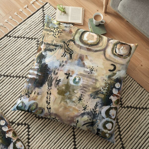 Mossy Cave Abstract OOAK You are an Original Abstract Floor Pillow