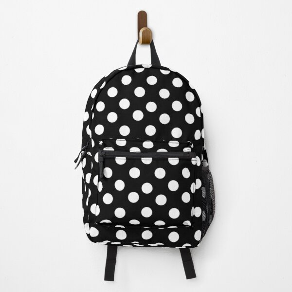 White on Black Polka Dots Backpack