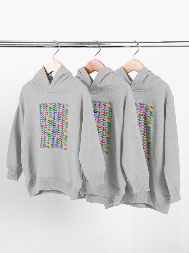 Alternate view of Rainbow whales Toddler Pullover Hoodie