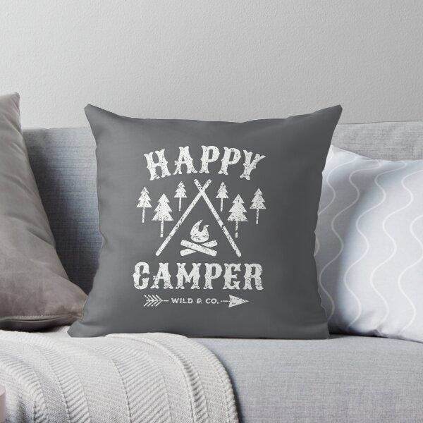 Happy Camper distressed white Dekokissen