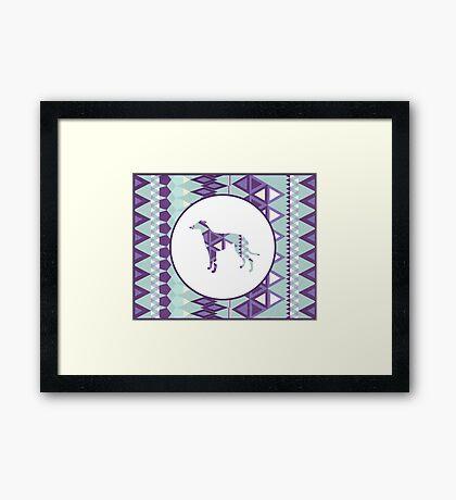 Greyhound Geometri Framed Print