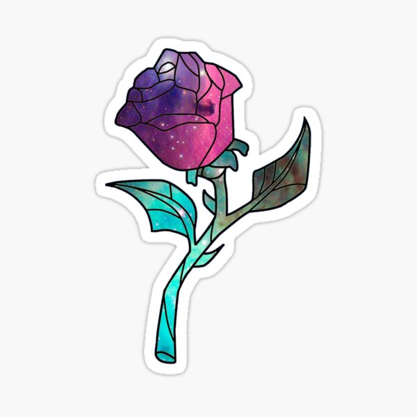 Stained Glass Rose Galaxy Sticker