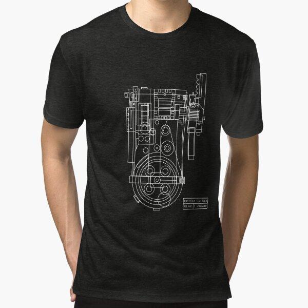 Postitron collider (proton pack) blueprint Tri-blend T-Shirt