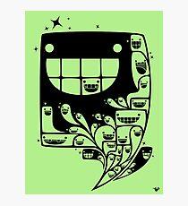 Happy Inside - 1-Bit Oddity - Black Version Photographic Print
