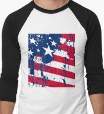 Drops Splash Colors America Flag  Men's Baseball ¾ T-Shirt