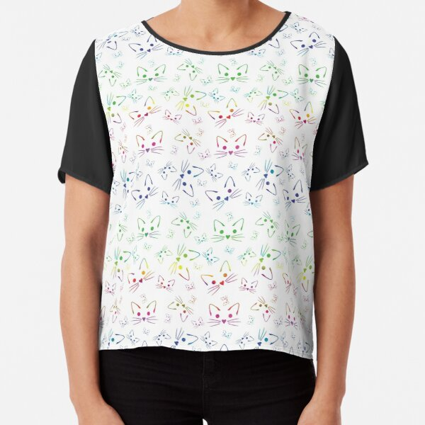 Simple Kitties in Rainbow Chiffon Top
