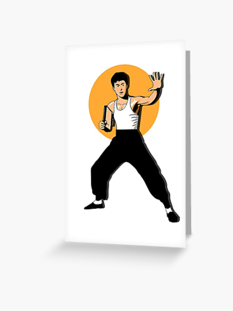 Cartoon Bruce Lee Greeting Card By Artthree Redbubble