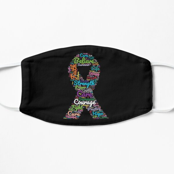Cancer Awareness Ribbon With Positive Support Words  Flat Mask